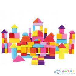 100Db-os Színes Fa Építőkocka Készlet (Bino Toys, 84203)