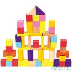 50Db-os Színes Fa Építőkocka Készlet (Bino Toys, 84204)