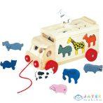 Állatos Formaillesztős Húzható Fa Kamion (Bino Toys, 84068)