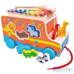 Fa Húzható Autó Állatos Formaberakóval És Xilofonnal (Bino Toys, 84088)