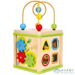Fa Kocka 5 Féle Készségfejlesztő Résszel (Bino Toys, 84194)