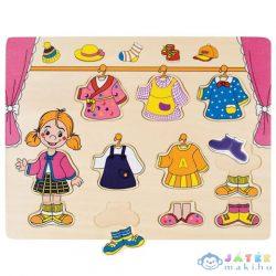 Fa Lányos Öltöztető Formapuzzle (Bino Toys, 88110)