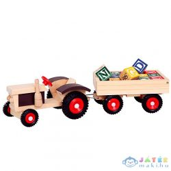 Fa Pótkocsis Traktor Abc Építőelemekkel (Bino Toys, 82077)