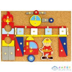 Fa Szegecselhető Tűzoltós Készségfejlesztő Játék (Bino Toys, 82197)