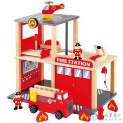 Fa Tűzoltóállomás Kiegészítőkkel (Bino Toys, 84083)