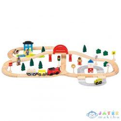 Fa Vasút Szett Kiegészítőkkel 70Db-os (Bino Toys, 82208)