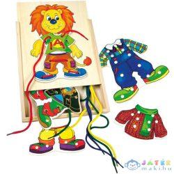 Oroszlános Fa Készségfejlesztő Fűzős Játék (Bino Toys, 88102)
