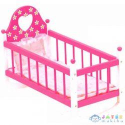 Pink Fa Játék Bölcső Ágyneművel (Bino Toys, 83701)