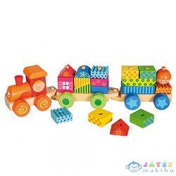 Színes Építhető Fa Vonatszett (Bino Toys, 82142)