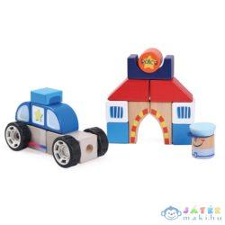Színes Fa Építőkockák - Rendőrség Játékszett (Bino Toys, 84093)