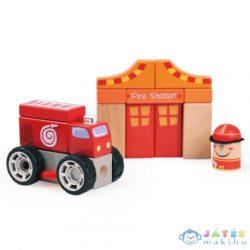 Színes Fa Építőkockák - Tűzoltóság Játékszett (Bino Toys, 84094)