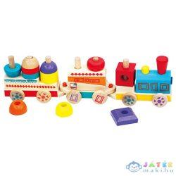 Színes Fa Készségfejlesztő Vonat - Bino Toys (Bino Toys, 82144)