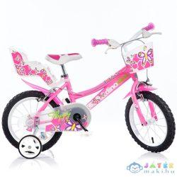 Flappy Rózsaszín-Fehér Kerékpár 14-Es Méretben (Dino Bikes, 146R-02)