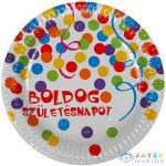 Boldog Születésnapot Feliratos 6 Darabos Papírtányér - 23 Cm, Konfetti Mintás (Festa, 443133-R-9)