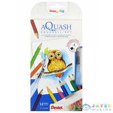 Pentel: Színes 12 Darabos Akvarell Ceruza Készlet Vizes Ecsettel (Fűzfő, CB9-12/FRH-SET1)
