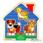 Melissa And Doug: Fa Készségfejlesztő Játék - Állatos Puzzle Fogantyúval (Kensho, 12055)