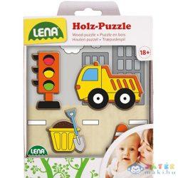 Lena: Billencs Munkagép Fa Formaillesztő Puzzle (LENA, 32163)