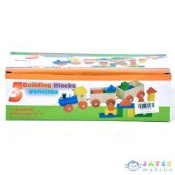 Fa Vonatszett Színes Építőkockákkal (Magic Toys, MKL089816)