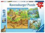 Ravensburger 3 x 49 db-os puzzle - Állatok és Lakóhelyük 08050