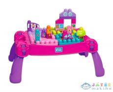 Mega Bloks: Építő Játékasztal Kockákkal - Lányos (Mattel, FFG22)