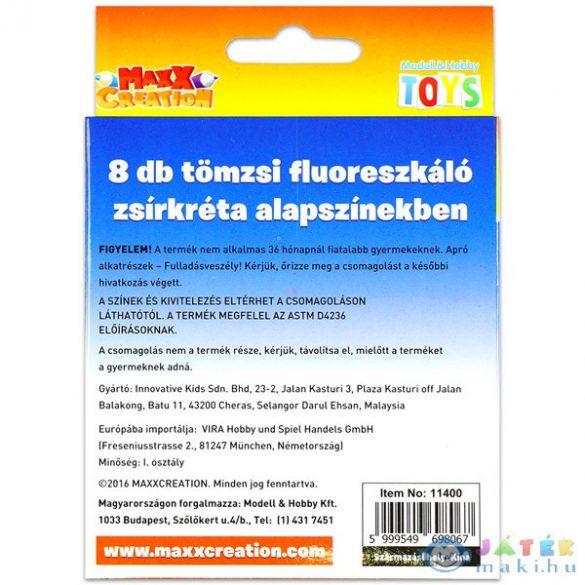Maxxcreation: Tömzsi Fluoreszkáló Zsírkréták Alapszínekben - 8 Darab (Modell-Hobby, 11400)