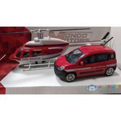 Tűzoltó Fiat Bravo És Helikopter Fém Modell Szett 1/43 - Mondo (Mondo Toys, 57004/tűzoltó)
