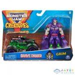 Monster Jam: Grave Digger Fekete Kisautó Grim Figurával (Spin Master, 6055108)