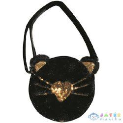 Fekete Macska Cipzáras Válltáska Arany Színű Csillogós Kiegészítőkkel (Starpak, 429478)