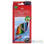 Faber-Castell 12 Darabos Háromszög Alakú Színes Ceruza Készlet Ajándék Hegyezővel (Stock, 120512)