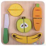 Vágható Fa Zöldség És Gyümölcs Készlet - 10 Darabos Szett (Tooky Toy, TKA489)