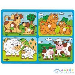 Állatok Kicsinyükkel Fa Forma-Puzzle Fogantyúval - Woodyland (Woodyland, 91913)