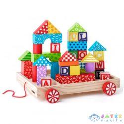 Fa Abc Húzós Kocsi Építőkockákkal És Betűkockákkal (Woodyland, 90913)