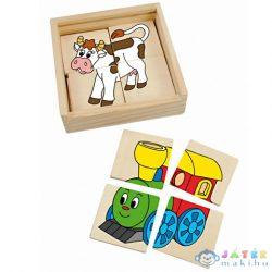 Mini Képillesztős Fapuzzle Kisvonattal (Woodyland, 93003)