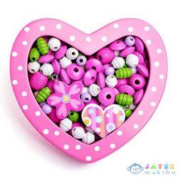 Rózsaszín Szív Kis Fa Gyöngyfűző Szett (Woodyland, 90214)
